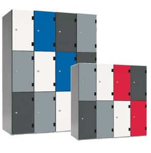 shockbox solid grade laminate door lockers, trespa doors, vandal resistant lockers, heavy duty lockers