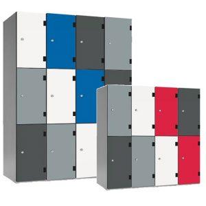 shockbox solid grade laminate door lockers, trespa doors, vandal resistant lockers, heavy duty lockers