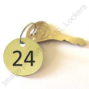 brass engraved number disc tag key fob