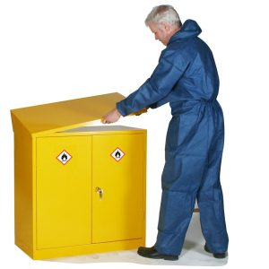 hazardous cabinet sloping top