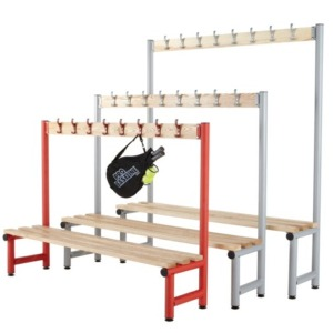cloakroom benching, changing room benching, hook boards