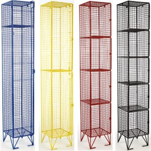 wire mesh lockers, mesh lockers, bright zinc mesh lockers, coloured mesh lockers, full ventilation lockers