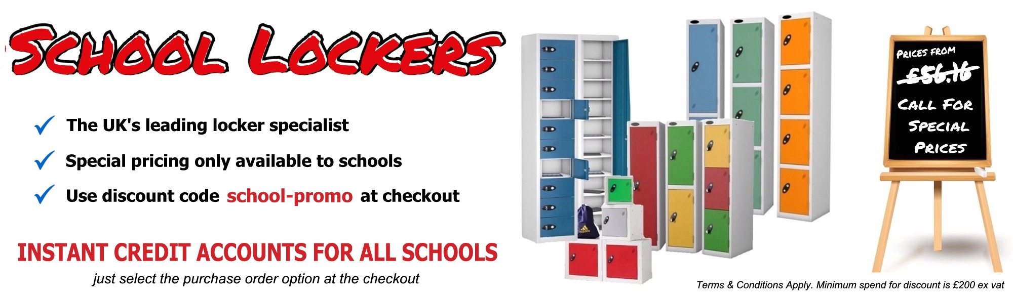school lockers, special prices, discouts for schools