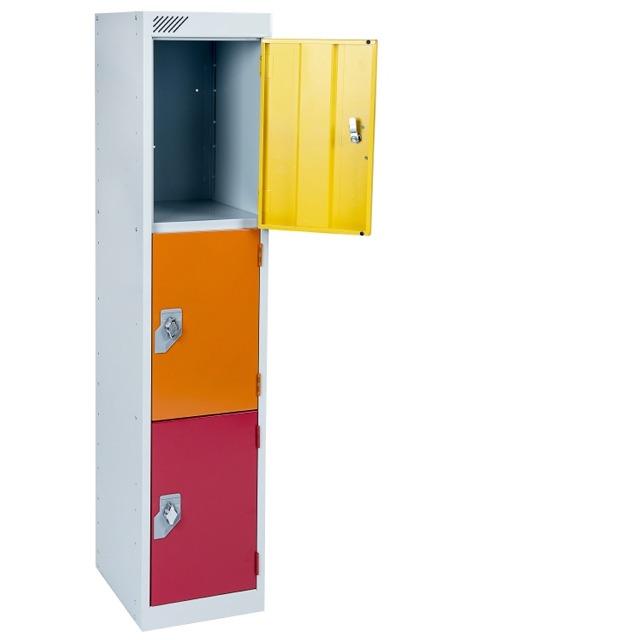 Key Stage 2 primary junior school low locker 3 door compartment