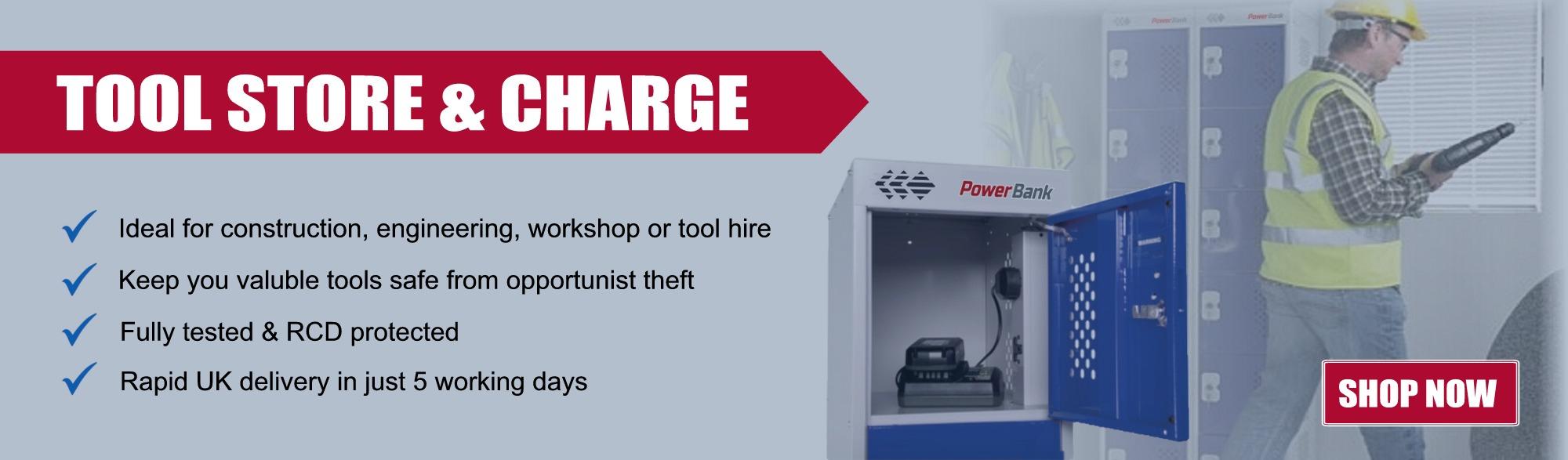 tool battery charging storage site locker