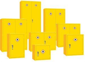 flammable hazardous dangerous flammable substance chemical coshh acid cabinets cupboards