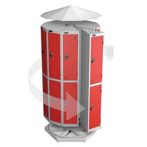 Rotating locker pod with canopy