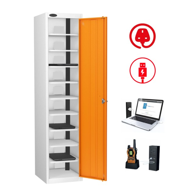 Powered lockers for laptops, tablets, phones, radios, tools, batteries