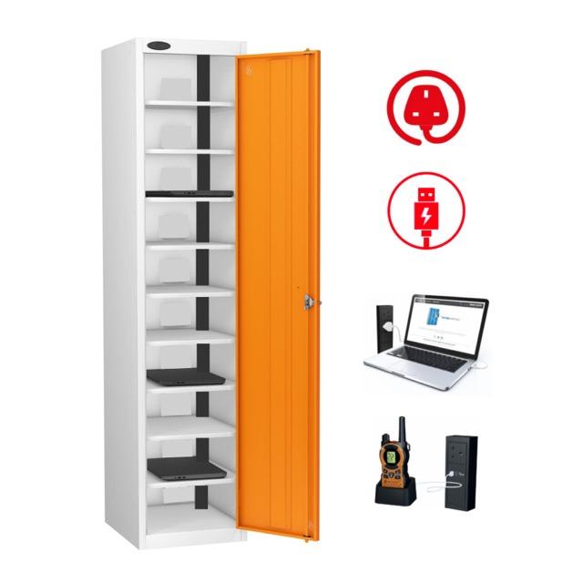 Powered lockers for laptops, tablets, phones, radios, tools, batteries