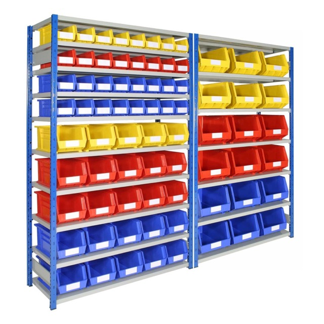 shelving with plastic bins small parts containers