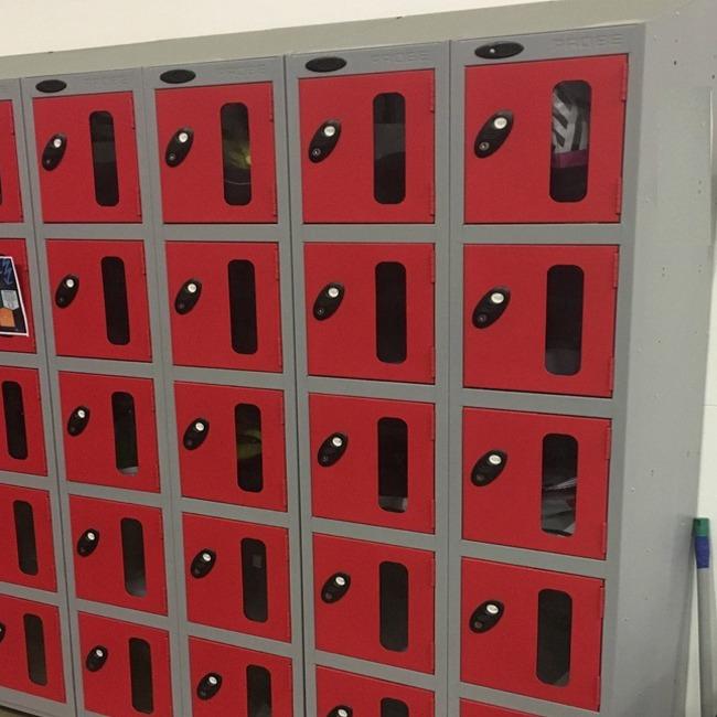 vision panel clear door shop retail staff locker